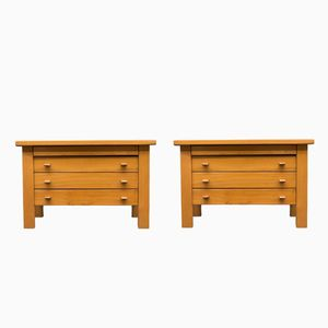 Solid Elm Chests by Pierre Chapo for Maison Regain, 1970s, Set of 2