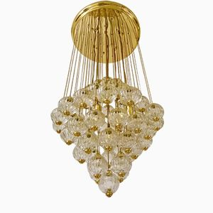 Murano Cascade Pendant with Crystal Globes, 1980s
