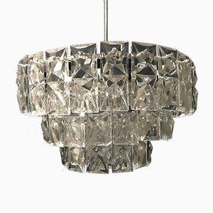 Lampadario in vetro e metallo cromato di Kinkeldey, anni '60