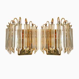 Apliques de cristal de Murano y metal dorado de Paolo Venini para Camer, años 70. Juego de 2
