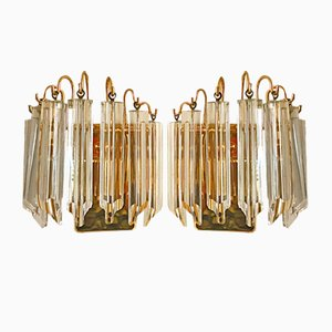 Murano Glass & Gilt Sconces by Paolo Venini for Camer, 1970s, Set of 2