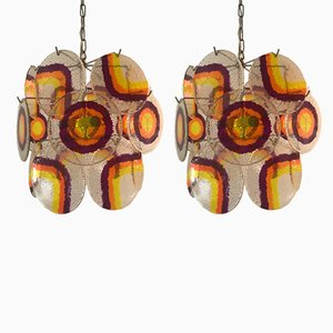 Lámparas de araña de cristal de Murano y lucite con estructuras plateadas de Gino Vistosi, años 60. Juego de 2
