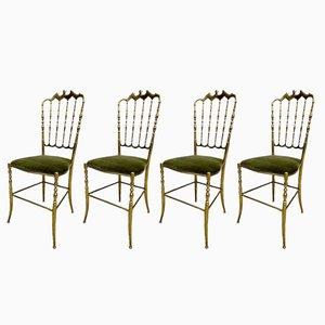 Chiavari Esszimmerstühle aus Messing, 1960er, 4er Set