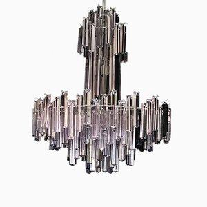Lámpara de araña de vidrio bicolor con estructura plateada de Camer, años 70