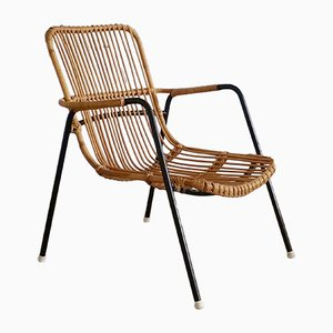 Vintage Rattan & Metal Chair, 1950s