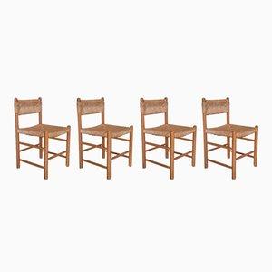 Esszimmerstühle mit geflochtenem Sitz, 1950er, 4er Set