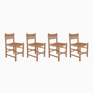 Woven Seat Dining Chairs, 1950s, Set of 4