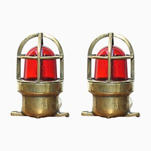Vintage Bronze & Red Glass Table Lamps, Set of 2