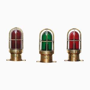 Lampade da tavolo vintage in bronzo e vetro colorato, set di 3