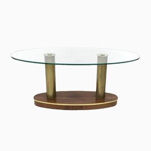 Mid-Century Italian Rosewood and Glass Coffee Table from Cristal Art
