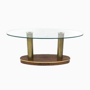 Table Basse Mid-Century en Palissandre et Verre de Cristal Art, Italie