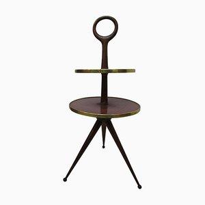 Tavolino da caffè in legno con due mensole di Cesare Lacca, anni '50