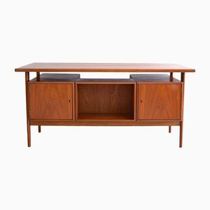 FM60 Teak Desk with Floating Top by Kai Kristiansen for Feldballes Mobelfabrik, 1960s