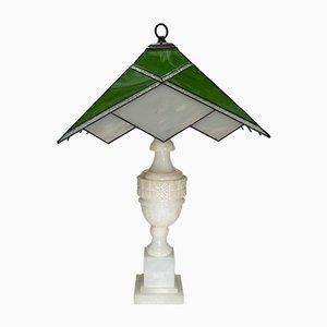 Lampes de Bureau Vintage en Albâtre et Verre, Set de 2