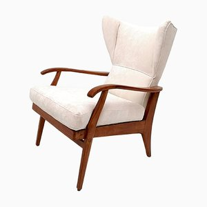 Italian White Velvet Reclining Lounge Chair, 1950s