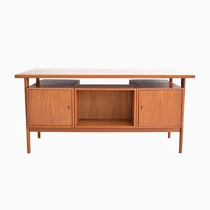 Mid-Century FM60 Executive Desk with Floating Top by Kai Kristiansen for Feldballes