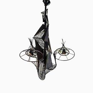 Lámpara de araña italiana de metal, años 60