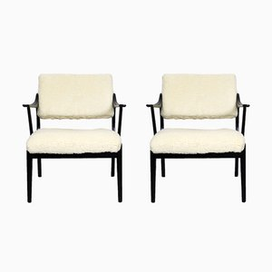 Vintage Merino Wool and Wood Chairs, Set of 2