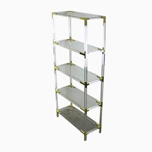 Gold Metal, Glass and Methacrylate Shelving Unit, 1970s