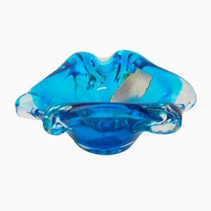 Posacenere vintage blu in vetro di Murano