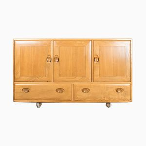 Vintage Solid Elm Windsor Credenza from Ercol