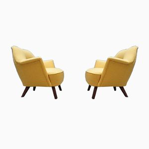 Mid-Century Yellow Lounge Chairs, Set of 2