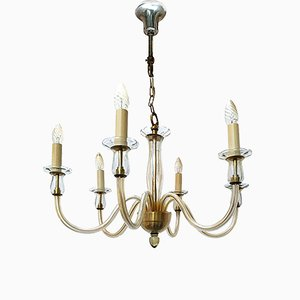 Six-Arm Murano Glass Chandelier, 1960s