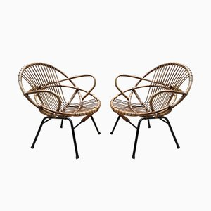 Mid-Century Rattan Armchairs, Set of 2
