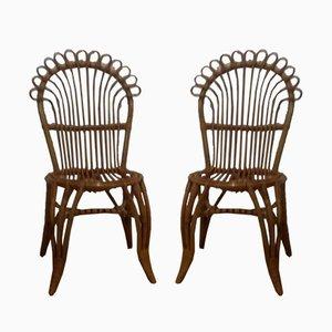 Chaises d'Appoint en Rotin, 1960s, Set de 2
