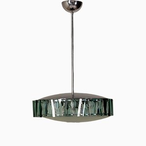 Italian Glass & Aluminium Pendant from Stilnovo, 1960s