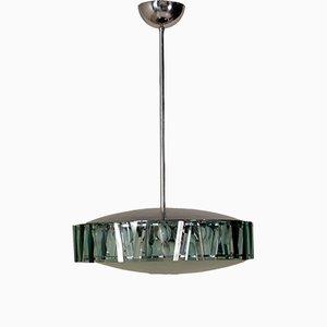 Italienische Hängelampe aus Glas & Aluminium von Stilnovo, 1960er