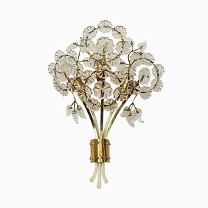 Floral Crystal Glass Wall Lamp by Emil Stejnar for Rupert Nikoll, 1950s