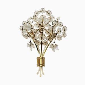 Wandlampe aus Kristallglas in Blumen-Optik von Emil Stejnar für Rupert Nikoll, 1950er