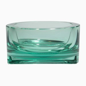 Green Crystal Ashtray by Moser, 1940s