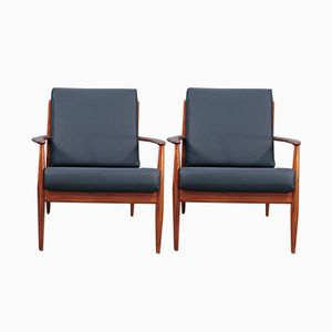 Mid-Century Dark Blue Leather Easy Chair by Grete Jalk