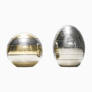 Vassoi impilabili a forma di sfera e uovo di Tommaso Barbi, anni '70, set di 2
