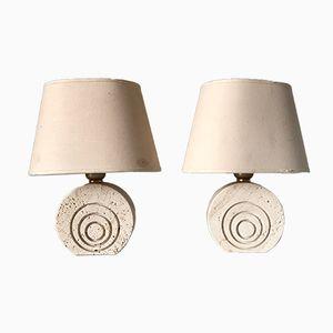 Lampes de Bureau en Travertin, 1970s, Set de 2