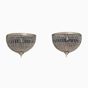 Silver Brass & Glass Wall Lights, 1950s, Set of 2