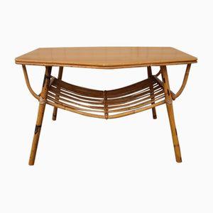 Mesa de centro de bambú y mimbre, años 60
