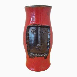 Jarrón de cerámica en negro y rojo de Robert & Jean Cloutier, 1959
