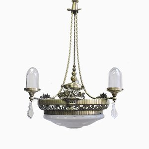 Lámpara de araña vintage moderno de cuatro luces, años 40