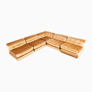 Modulares Vintage Mah Jong Sofa mit goldenem Samtbezug von Roche Bobois