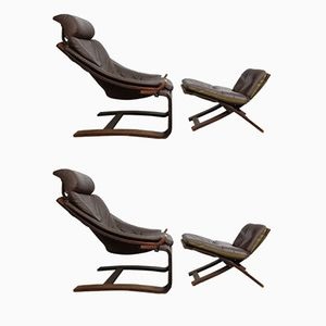Kroken Lounge Chairs & Ottomans by Åke Fribytter for Nelo Möbel, 1970s, Set of 2