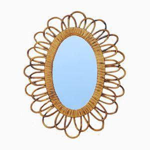 Oval Rattan Flower Mirror, 1960s