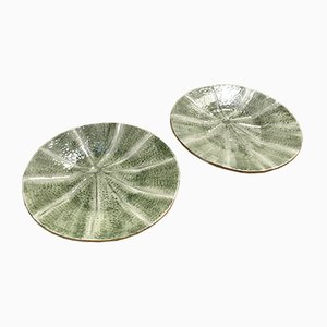 Portuguese Barbotine Plates, 1970s, Set of 2