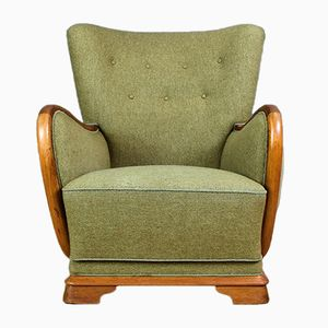 French Art Deco Lounge Armchair in Oak & Wool, 1940s
