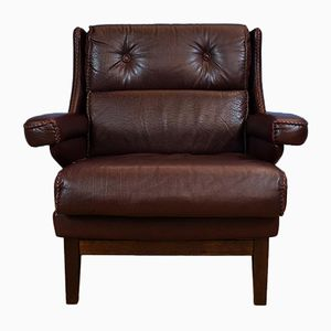 Swedish Burgundy Leather Armchair by Arne Norell for Vatne, 1970s