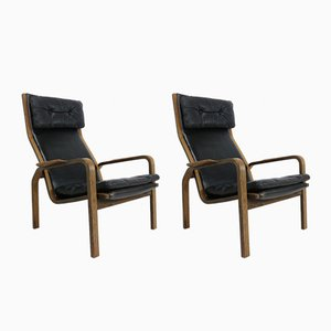 Black Leather & Wengé Lounge Chairs by Yngve Ekstrom for Swedese, 1960s, Set of 2