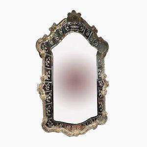 Espejo veneciano de cristal de Murano, años 60