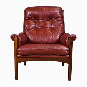 Vintage Swedish Red Leather Armchair from Göte Möbel, 1970s